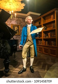 Istanbul, Turkey, 14 May 2018: Wolfgang Amadeus Mozart wax figure at Madame Tussauds museum in Istanbul.