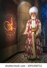Istanbul, Turkey, 14 May 2018: Wax sculpture of Suleiman the Magnificent, the tenth and longest-reigning sultan of the Ottoman Empire on display at Madame Tussauds Istanbul.