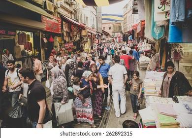 ISTANBUL, TURKEY - 14/06/2014: market street in Istanbul city, Turkey