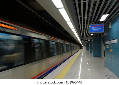 Istanbul, Turkey 15 March 2014: Marmaray, Asia established between the European continent and thesea is passing under the first rail public transport system, was put into operation on 29 October 2013.