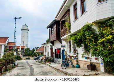 Istanbul, Turkey, 15 November 2017: Old Istanbul Wooden Houses in Anadolu Feneri, Beykoz district of Istanbul.