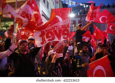 ISTANBUL, TURKEY, 16 APR?L 2017 Supporters of Turkish President Tayyip Erdogan celebrate in Istanbul.