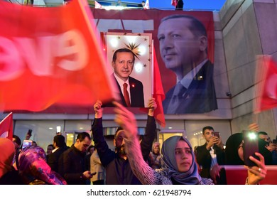 ISTANBUL - TURKEY 16 APRIL : AK Party and Erdogan supporters congratulate the results of the referendum on April 16, 2017 in Istanbul, Turkey.