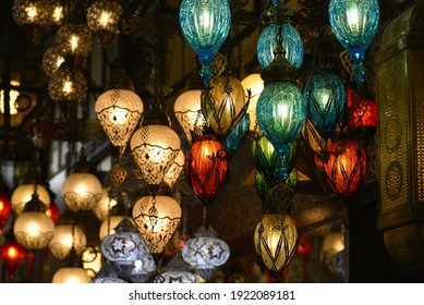 Istanbul, Turkey, 17.02.2018, Brightly colored lamps for sale in a lamp shop in the Grand Bazaar, Istanbul, Turkey