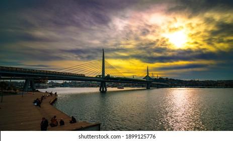 Istanbul Turkey - 1.7.2021: Halic Metro Bridge in Istanbul. Istanbul mass transit background. Modern cable bridge. Underground bridge in Istanbul. Golden Horn.