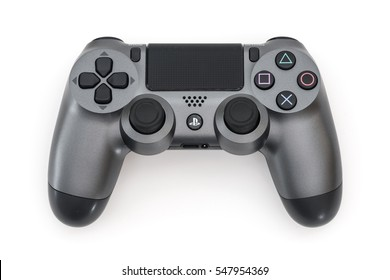 ISTANBUL, TURKEY - 18 DEC, 2016: The new Sony Dualshock 4 gunmetal color is on the white background. Sony PlayStation 4 game console of the eighth generation.