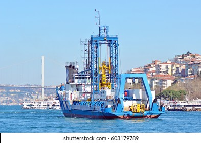 Istanbul, Turkey : 18 March, 2017 - Ship on sea at Bosphorus