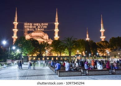 ISTANBUL, TURKEY, 18 MAY 2018: Ramadan month Islamic message lettering hanging on Blue Mosque's mahya. Mahya is an enlightenment arrangement during ramadan nights between two minarets.