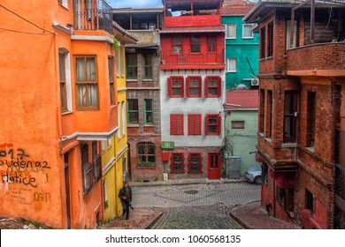 ISTANBUL, TURKEY  19,03,2018  Colorful Houses in old city Balat.