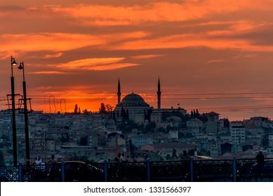Istanbul, Turkey, 2 August 2011: Sunset at Galata Bridge, Eminonu