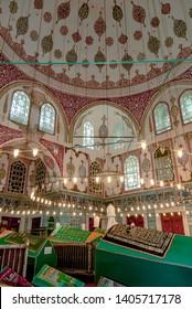 Istanbul, Turkey, 2 May 2006: Tombs of the sleeping sultans, Hatice Turhan Valide Sultan Tomb, Sultan IV Mehmet, II Mustafa, III Ahmet, I Mahmut, III Osman, V Murat, Eminonu.