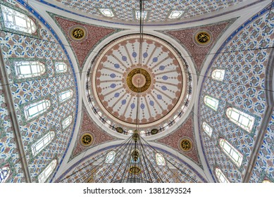 Istanbul, Turkey - 20 April, 2019: Inside interior of Great Selimiye Mosque (Buyuk Selimiye Cami) in Uskudar district. built by Sultan III Selim. Baroque and Ottoman architecture