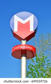 Istanbul, Turkey: 20 August, 2017:  sign for the Metro station in the Fistikagaci district of Istanbul city.