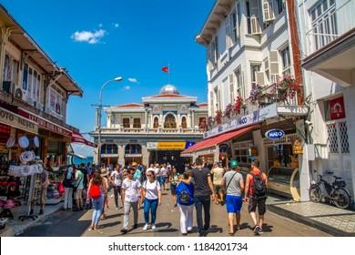 Istanbul, Turkey, 20 August 2018:  Buyukada Island street view. Buyukada is one of the Princes Islands on Marmara Sea.