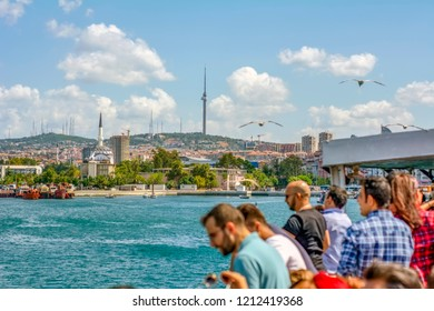 Istanbul, Turkey, 20 August 2018: Travel on passenger ship - popular sea voyage in Turkey. Bosporus strait with turkish steamship - seascape of Istanbul with a seagulls. Istanbul tours - marine trip f