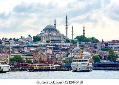Istanbul, Turkey, 20 August 2018:  Muslim architecture and water transport in Turkey - Beautiful View touristic landmarks from sea voyage on Bosphorus. Cityscape of Istanbul at sunset - old mosque and