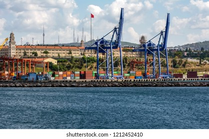 Istanbul, Turkey, 20 August 2018:  Large container ship in a dock at port, Haydarpasa, Istanbul, Turkey