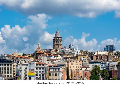 Istanbul, Turkey, 20 August 2018: Galata Tower and the street in the Old Town of Istanbul, Turkey