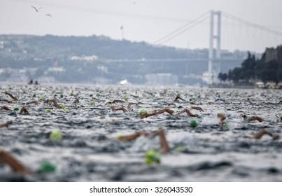 ISTANBUL, TURKEY,  20 JULY 2014, Swimmers seems on Bosphorus in Istanbul Bosphorus intercontinental swimming race.