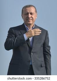 ISTANBUL, TURKEY, 20 SEPTEMBER 2015, Turkish President Recep Tayyip Erdogan speaks at peace rally held in Istanbul,
