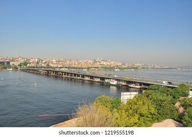 Istanbul, Turkey 2012-08-08 Ataturk Bridge in Halic. Ataturk Bridge or the former name of Unkapanı Bridge is a bridge connecting the historical peninsula to the Beyoglu coast in Istanbul.