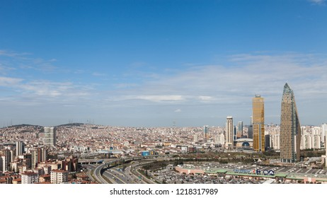 Istanbul, Turkey 2015-02-26 Aerial Cityscape from Kozyatagi. Traffic flows and  parked vehicles in front of the shopping center.