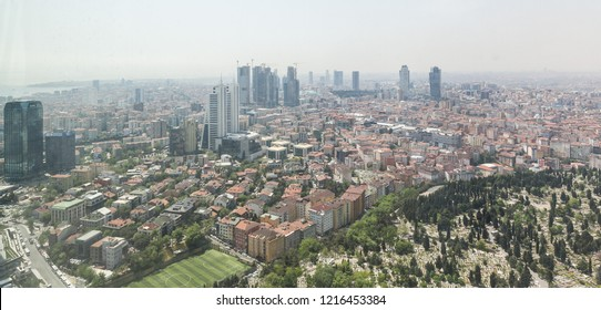 Istanbul, Turkey 2015-04-27 Skyscrapers in Maslak Region Aerial