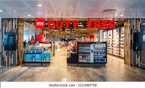 Istanbul, Turkey 2016-08-19: ATU Duty Free Shop in Ataturk Airport Istanbul. Duty free shops are retail outlets that are exempt from the payment of certain local or national taxes and duties