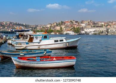 Istanbul, Turkey, 21 April 2006: Boats at Balat, Halic