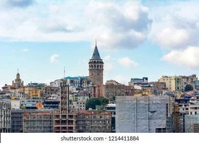 Istanbul, Turkey, 21 August 2018: Galata Tower, Galata Bridge, Karakoy district and Golden Horn, istanbul – Turkey