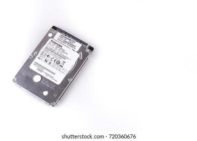 "Istanbul, Turkey, 21 September 2017, Toshiba 500gb 2.5"" Notebook Harddisk on white background."
