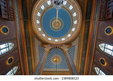 Istanbul, Turkey -22 April, 2019: Inside interior and ceiling of Yildiz Hamidiye Mosque (Turkish: Yildiz Camii), built by Sultan Abdulhamid II, 1885 in Besiktas. Next to Yıldız Palace (Sarayı)
