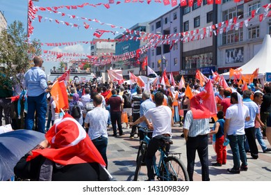 Istanbul, Turkey - 22.06.2019 : Street meeting before mayoral elections in Istanbul; opposition and AKP party on the street