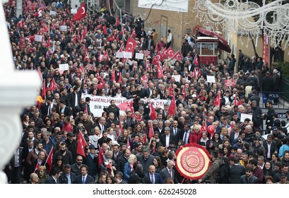 ISTANBUL, TURKEY, 23 APRIL 2017 People protest to referendum results during a rally in Istanbul.