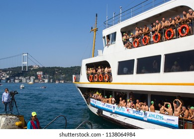 ISTANBUL, TURKEY, 23 JULY 2017, Swimmers seems on Bosphorus in Istanbul Bosphorus intercontinental swimming race