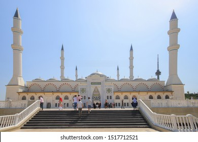 Istanbul, Turkey - 24 august, 2019: New Camlica Mosque is the largest mosque in Turkey