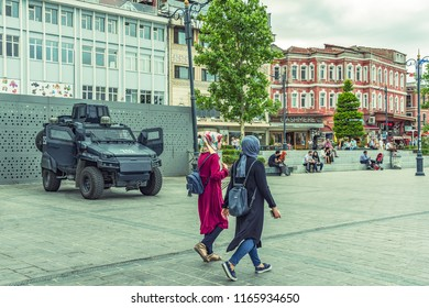 Istanbul / Turkey - 24 June 2018: City square near Yeni Cami (The New Mosque) and Egyptian bazaar with walking people