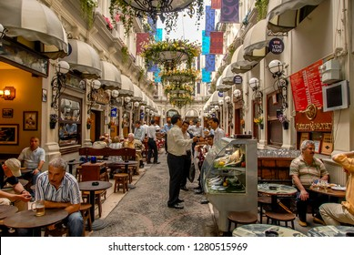 Istanbul, Turkey, 24 May 2006: Cite de Pera is a famous historic passage on Istiklal Avenue in the Beyoglu district.