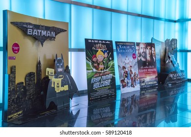 Istanbul, Turkey - 25 February 2017: Movie theater entrance. Lego Batman, Snow queen, Istanbul red, lemon mint with movie posters.