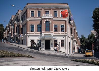 Istanbul, Turkey, 25 JUN 2008: Akaretler Row Houses in Besiktas, Istanbul