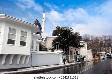 Istanbul, Turkey, 26 January 2010: Serifler Mansion and Hamid-i Evvel Mosque, Cinaralti, Emirgan