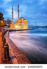 ISTANBUL, TURKEY - 26 NOVEMBER, 2019: Amazing sunrise at ortakoy mosque in istanbul, Turkey on 26 November, 2019.
