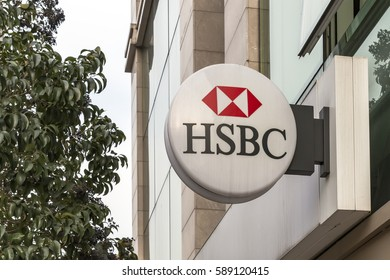 Istanbul, Turkey - 27 February 2017: HSBC Bank Signs. HSBC Bank, headquartered in the UK, is headquartered in London. It is one of the largest banking and financial services organizations in the world