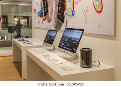 Istanbul, Turkey - 27 January 2017: Troy sells Apple products at its technology store. Capitol shopping center, Altunizade