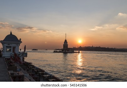 Istanbul, Turkey - 29 December 2016 : Maiden tower , The symbol of the city of Istanbul , Turkey