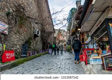 Istanbul, Turkey, 29 January 2019: Alageyik Street, Karakoy, Beyoglu district.