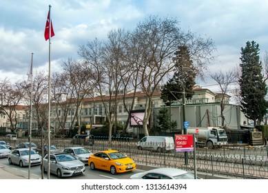 Istanbul, Turkey, 29 January 2019: Mimar Sinan Fine Arts University 1882, Beyoglu district.