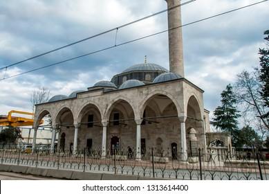 Istanbul, Turkey, 29 January 2019: Molla Celebi Mosque, 1586 Architect Sinan 1586, Findikli, Beyoglu district.