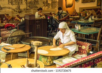Istanbul / Turkey - 29 June 2018: Preparation of turkish flatbread gozleme in the restaurant