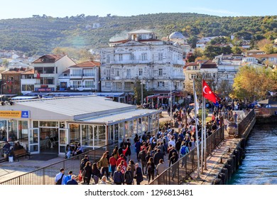 ISTANBUL, TURKEY - 29 October 2018 :  Passengers are leaving the boat at pier of Burgazada, one of the Prince Islands.